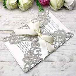 $enCountryForm.capitalKeyWord Australia - New Style Free Shipping Silver Glitter Invitations Cards With Beige Ribbons For Wedding Bridal Shower Engagement Birthday Graduation
