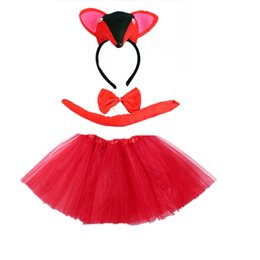 Fox Costumes For Halloween Australia - Fox Animal Cosplay Headband Tutu Skirt Tie Tail Set Boy Girl Children Party Props Christmas Navidad halloween costume for kids