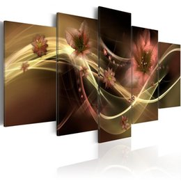 $enCountryForm.capitalKeyWord Australia - 5 Pieces Canvas Painting Lily Flower with Coloured Ribbon Art Print Wall Picture Home Decor Fashion Floral Wooden Framed