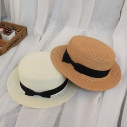Green Straw Hat NZ - Summer sun hats sunscreen straw hat female visor shopping beach parent-child UV protection flat top caps Outdoor sports sale