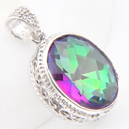 Colourful pendant neCklaCe online shopping - 2 piece Luckyshine Women Silver plated Ellipse Fashion Colourful Mystic Topaz for Wedding Pendant Necklace p0121