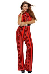 1ed4bd05b1f Wholesale- Adogirl Plus Size Rompers Women Fashion V Neck Striped Print  Gold Belted Wide Leg Jumpsuit Sleeveless Macacao Feminino S-3XL