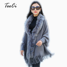 Wholesale women shawl collar cardigan sweater resale online - Fashion New Autumn And Winter Women Faux Fur Collar Cape Shawl Cardigan Women Tassel Knit Cardigan Sweater Poncho D1892001