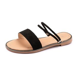 $enCountryForm.capitalKeyWord NZ - New Flat Sandals For Ladies Summer Peep Toe Roman Shoes Solid Color Low-heeled Woman Sandals CZ129