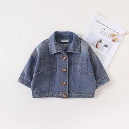 Discount korean fashion baby boy clothes - Korean Cotton Autumn Baby Boy Girls Jeans Coat Long Sleeve Infant Jackets Blue Black Color Children Clothes Outwear Fash
