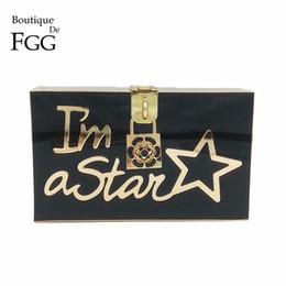 Clutch Acrylic Box Bags Canada - Boutique De FGG Im a Star Letters Women Black Acrylic Evening Bag Box Case Clutch Purse Party Prom Day Clutches Shoulder Handbag