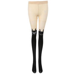 e7f4f2022 Tights Tattoo UK - Women s Sexy Black Japanese Stocking Tight Pantyhose  With Tattoo Over Knee With