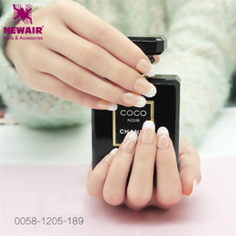 Sexy Finger Nails NZ - White Pink French False Nail with Adhesive Sticker New Designs Fake Fingernails Tip ABS for Salon Nail Art Sexy Lady Beauty