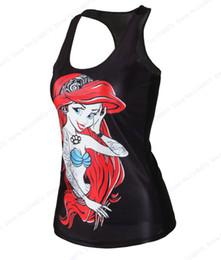 Sexy Army Shirts Australia - The Little Mermaid Jogging Vest Sexy Mermaid Fitness Yoga Bodybuilding Tanks Tops Summer Black Sleeveless Exercise Shirts Womens