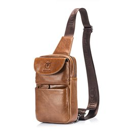 Discount genuine leather chest bags - DCOS BULLCAPTAIN Brand Men's Chest Bag Fashion Crossbody Bags For Men Genuine Leather Small Shoulder Bag
