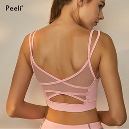 4cd7e38ddece6 Peeli Sexy Mesh Yoga Bra Breathable Gym Fitness Bracelet Strap Top Sports  Bra Padded Running Workout Crop Top Push Up Sport Bh