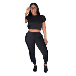 Ladies Leisure tracksuits online shopping - Summer Women Tracksuits Two Piece Sets Fashion Casual Side Ruffle O Neck Long Pants Ladies Sweat Suits Jogger Leisure Suit Female