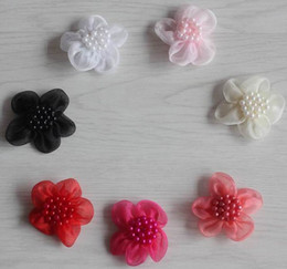 $enCountryForm.capitalKeyWord Australia - 100pcs 4.5cm chic handmade tulle mesh fabric flower for girls headbands,hair clip hair pin clothes shoes diy flowers