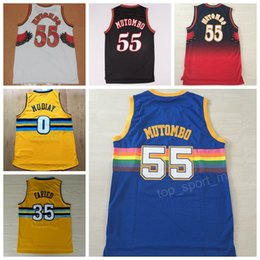 Men Basketball 55 Dikembe Mutombo Jersey 35 Kenneth Faried 0 Emmanuel  Mudiay Jerseys Vintage Yellow Alternate Blue Red Team White 4025dc9d5