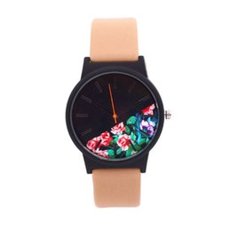 floral dial watch 2019 - Minimalist style Marble women Watches Floral Dial ladies dress Wristwatch genuine Leather Casual watch student Quartz Cl
