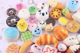 Discount rare phones - 10pcs Kawaii Squishies Bun Toast Donut Bread for cell phone Bag Charm Straps Wholesale mixed Rare Squishy slow rising la