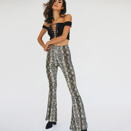 2018 Women Vintage Sexy Serpentine Printing Loose Flare Pants Long Trousers Mujer Leisure Snake Skin Pattern Brand Pants P146 Clear And Distinctive Pants & Capris Women's Clothing