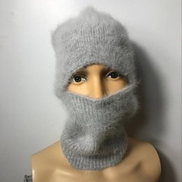 balaclava knitting 2018 - LOVELYDONKEY men women general-purpose mink cashmere hand knitting hats Winter warm hat balaclava winter free shipping M