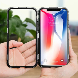 $enCountryForm.capitalKeyWord NZ - Magnetic Adsorption Flip Case for iPhone X XR XS MAX 8 6S 7 Plus Tempered Glass Back Cover Luxury Metal Bumpers for Samsung S8 S9 Hard Case