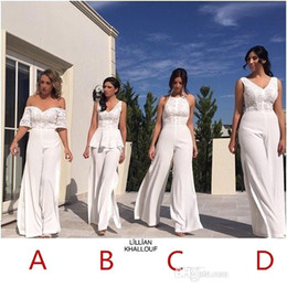 White lace summer Wedding dress online shopping - V Neck Lace JumpSuit Long Bridesmaid Dresses Off The Shoulder Split Floor Length Long Maid of honor Wedding Guest Evening Gowns BA6721