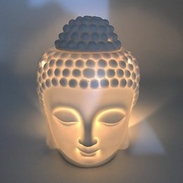 Großhandel Keramik Aromatherapie Ölbrenner Buddha Kopf Aroma Ätherisches Öl Weihrauch Buddha Tibetischer Weihrauchbrenner H Diffusor Indian