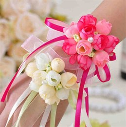 Wholesale The Beautiful Korean simulation sister wrists flower Bridesmaid Flower Bridal wrist flowers and Hand flower T4H0223