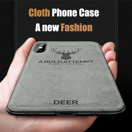 Fit bull online shopping - 2018 New Design Cloth Canvas Phone Case For Iphone s plus Xs Max Xr With Deer Bull Batman Texture Pattern