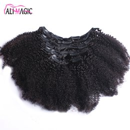 Chinese  Afro Kinky Curly Clip In Human Hair Extensions Brazilian Remy Hair 100% Human Natural Hair Clip Ins Bundle 100G 120G Ali Magic Factory manufacturers