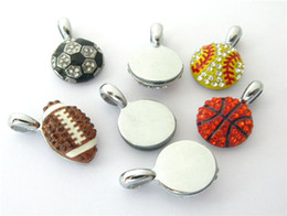 sports strip Canada - 10pcs Mix Styles DIY Rhinestone American football Hang pendant charms 15x15mm Fit DIY Necklace  Key chain s Phone strip DIY Bracelet