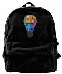 $enCountryForm.capitalKeyWord UK - Light Bulb Puzzle Fashion Canvas Best Backpack Unique Camper Backpack For Men & Women Teens College Travel Daypack Black