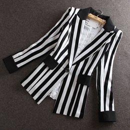 $enCountryForm.capitalKeyWord Canada - High Quality 2017 Autumn New new Korean Slim small suit Jacket Women Black And White Striped Blazer feminino Plus size M-XXXL OK