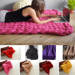 Discount christmas crochet gifts - 60*60cm New Polyster Line Knitted Blanket Handmade Crochet Bed Sofa Plane Blanket Mat Take Photo Christmas Gifts WX9-200