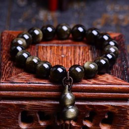 Discount gourd pendant gold - Gold Natural Obsidian Stone Bracelets 10mm Beads Small Gourd Pendant Men Women Single lap Crystal Bracelet Jewelry