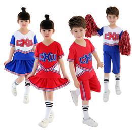 Women Costume Cheerleader UK - KTLPARTY cheerleading student red blue boy girl children Musical Cheerleader Costume Cheer Uniform Fancy suit skirt sock