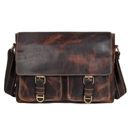 jmd leather bags 2019 - JMD Crazy Horse Genuine Leather Men Bag Crossbody Bags Zipper Vintage Messenger Bag Men Leather Brand Handbag Shoulder B