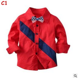 Discount school shirts for boys - Boys Red Shirts wih Bow Tie for Kids Boys Red Shirts Long Sleeve England School Trend Children Clothes Tops Blouse Casua