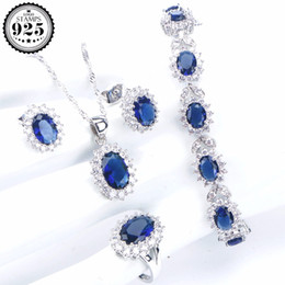 Blue Cubic Zirconia Bridal Jewelry Sets Women Wedding Silver 925 Jewelry Bracelet Ring Earrings Pendants&Necklaces Set Gift Box from cheap platinum earrings manufacturers