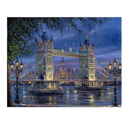 Painting Wall Ornaments Australia - Bridge Architecture DIY Digital Oil Hand Painting Wall Decoration Home Decor canvas painting by numbers Decorations Modular pictures