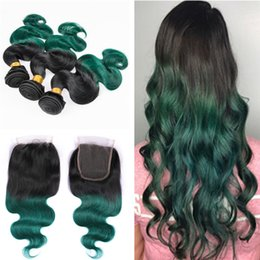 Discount dark green hair extensions - Ombre Color 1B Green 3 Bundles With Closure 4X4 Dark Roots 1B Green Body Wave Brazilian Hair Weaves Extensions With Top