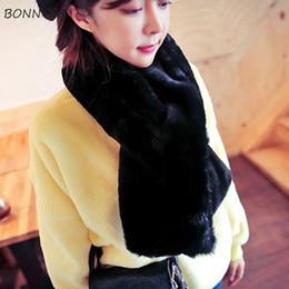 Lovely Scarves Wholesale Australia - Scarves Women Cashmere Lovely Trendy Thickening Warm Soft Student Scarfs Korean Elegant Female Faux Fur Collar Winter Scarf Chic
