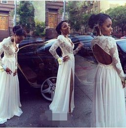 55648582a7 2018 African Black Girls Long Sleeves Prom Dresses Sexy Deep V Neck Split  Front Floor Length Chiffon Skirt Lace Applique Top Open Back