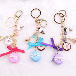 Wholesale Resin Macarons Cake Keychain Alloy Ice Cream Keyring Wedding Party Favor Eiffel Tower Keychains DHL