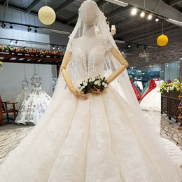 custom made veils NZ - Elegant Princess Wedding Dresses O-Neck Crystal Short Sleeve Custom Made Real Photo With Beads Decorate Veil Wedding Gown