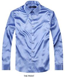 Ivory Colors Wedding Dresses NZ - 2017 Light blue Luxury the groom shirt male long sleeve wedding shirt men's party Artificial silk dress M-3XL 21 colors FZ
