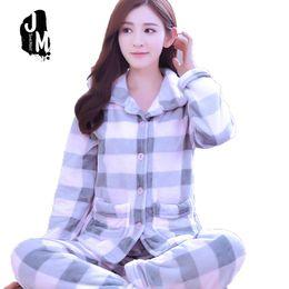 48a1bf178d Women Pajama Set Flannel Pyjama Warm Plaid Pajama Suit Winter Sweatshirt Pants  Trousers Outfits For Female Warm Sleepwear D2 D18110502