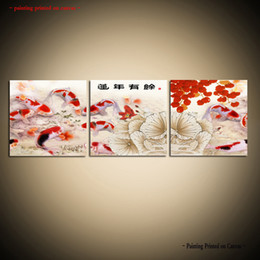 Art Canvas Prints Australia - Framed Unframed Large Modern Wall Art Canvas Giclee Prints Canvas Art Prints Koi Fish Painting Art Asian Home Decor 3 pieces Set dining room