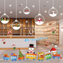 snowflake wall stickers NZ - 2018 Natal Decorative Decal Window Stickers Removable DIY Glass Wall Merry Christmas Snowflake Santa Deer&Sleigh Ride Sticker