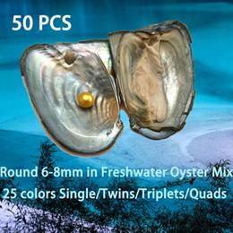 50PCS Single / Twins / Triplets / Quads Colorful 6-8mm perlas redondas en ostra de agua dulce como DIY Sorpresa regalos con embalaje individual al vacío en venta