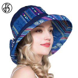 687777f852230 Pink Sun Visor Hat NZ - FS Elegant Ladies Royal Blue Print Wide Brim Floppy  Beach