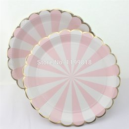 disposable plate for birthday party 2019 - Free Shipping!!! Eco-friendly Disposable party tableware Wedding foil gold Scallop Paper Plates for birthday Xmas baby s